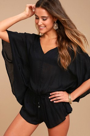 O'Neill Taylin Black Romper Cover-Up 1