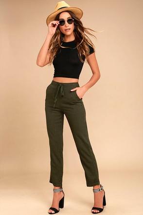 Wake Up Call Olive Green Pants 1