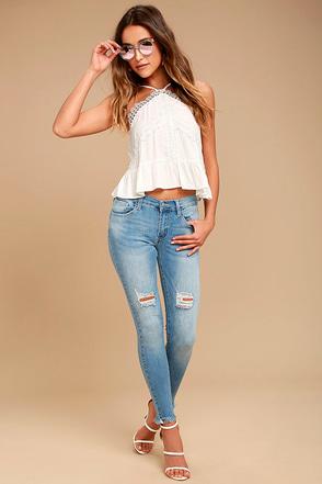 Feeling It Light Wash Distressed Skinny Jeans 1