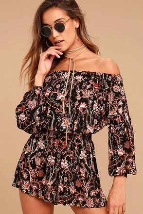 Free People Pretty and Free Black Floral Print Romper 1