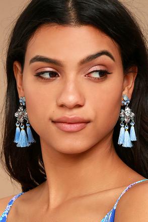 Brilliant Belle Blue and Silver Tassel Earrings 1