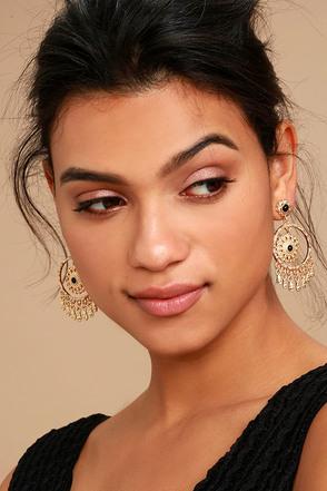 Mandala Mama Black and Gold Earrings 1