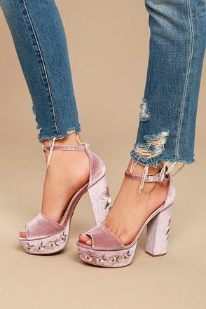 Abella Blush Velvet Embroidered Platform Heels 2