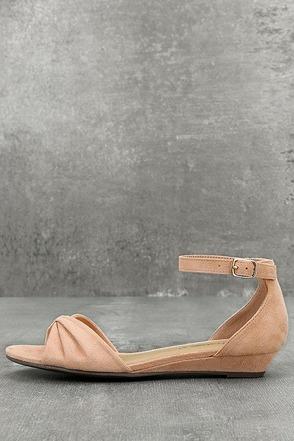 Maryanna Blush Suede Wedge Sandals 1