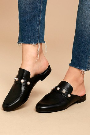 Steve Madden Kandi-P Black Leather Loafer Slides 1