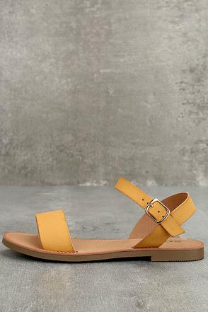 Kamalei Dark Mustard Flat Sandals 1