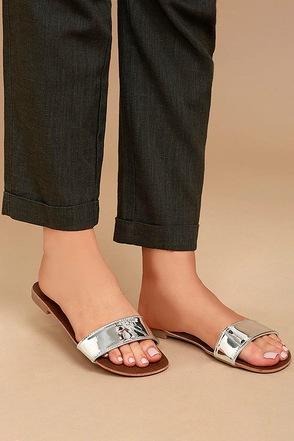 Nori Silver Patent Slide Sandals 1