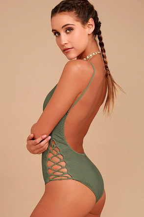 Billabong Meshin' With You Olive Green One Piece Swimsuit 1
