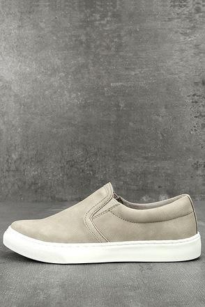 Ninette Grey Nubuck Slip-On Sneakers 1
