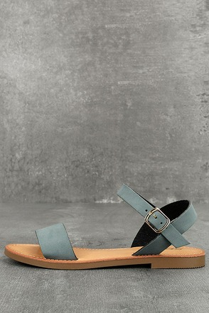 Kamalei Dark Blue Nubuck Flat Sandals 1