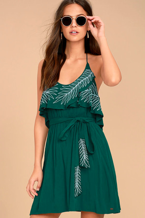 O'Neill X Natalie Off Duty Valerie Teal Green Embroidered Dress 1