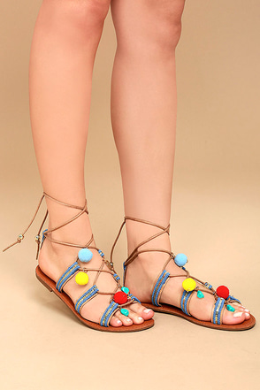 Isabeau Natural Lace-Up Pompom Sandals 1