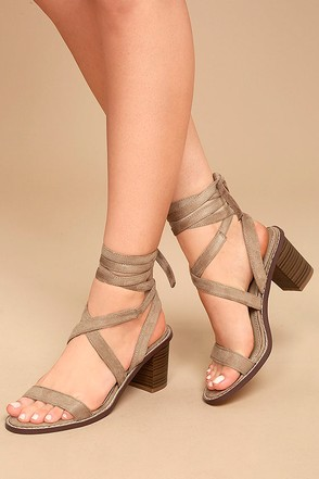 Kendra Taupe Suede Lace-Up Heels 1
