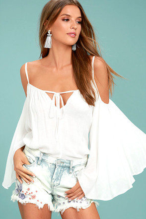 Thought-Provoking White Off-the-Shoulder Top 1