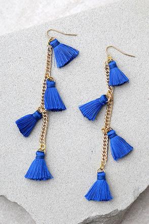 Vanessa Mooney Dynasty Blue Tassel Earrings 1