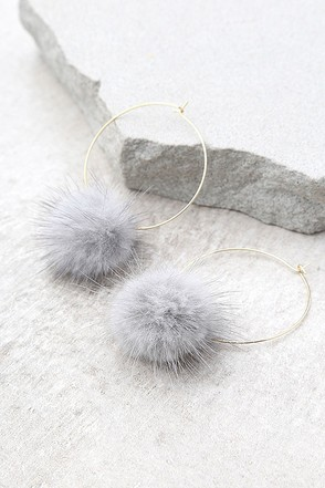 Je T'aime Gold and Grey Fur Pom Pom Earrings 1