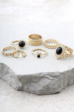 Molokai Black and Gold Ring Set 1