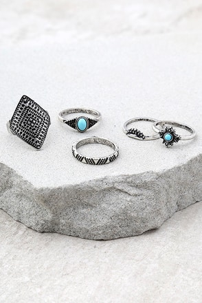 Down the Coast Blue and Silver Ring Set 1