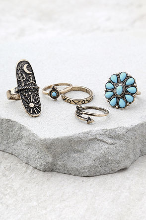 Desert Arrow Blue and Gold Ring Set 1
