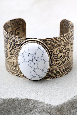 Goddess Gold and White Cuff Bracelet 1