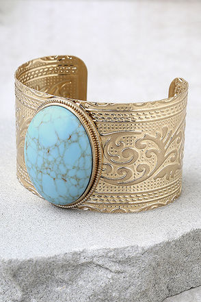 Goddess Gold and Turquoise Cuff Bracelet 1