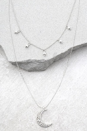 Celestial Charm Silver Layered Necklace 1
