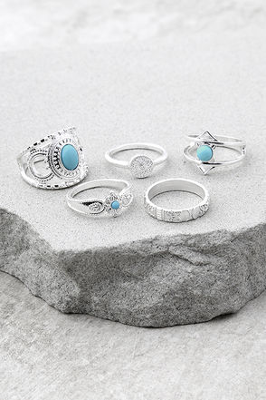 Sea of Love Blue and Silver Ring Set 1