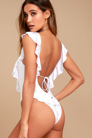 Blue Life Flutter White Backless One Piece Swimsuit 1