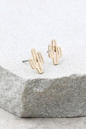 Cacti Cutie Gold Earrings 1