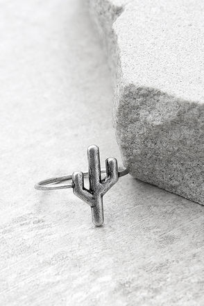 Sweet Succulent Silver Cactus Ring 1