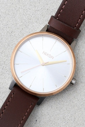 Nixon Kensington Leather Silver, Gold, and Rose Gold Watch 1