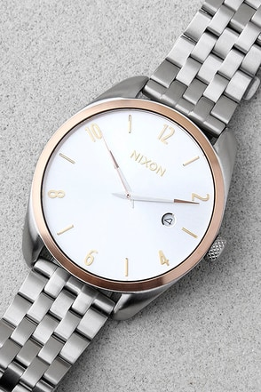 Nixon Bullet Silver, Gold, and Rose Gold Watch 1