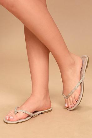 Laveda Nude Suede Pearl Flip Flops 1