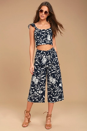 J.O.A. Maylee Navy Blue Floral Print Culottes 1