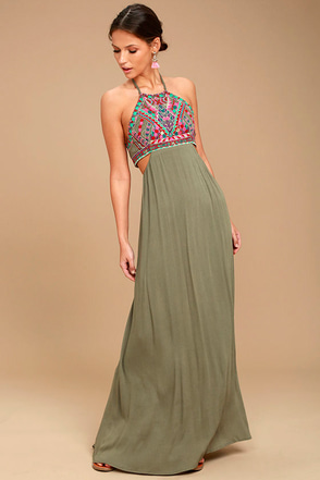 Little Beach Olive Green Embroidered Maxi Dress 1