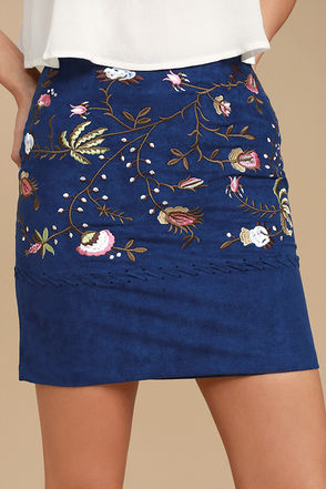 New Song Navy Blue Suede Embroidered Mini Skirt 1