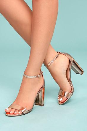 Raylen Rose Gold Ankle Strap Heels 2