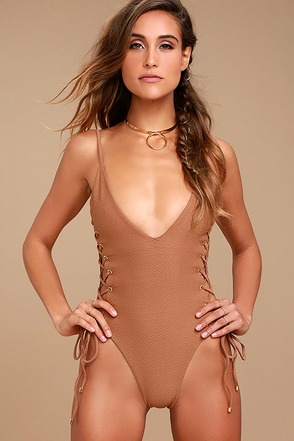 Blue Life Roped Up Brown Lace-Up One Piece Swimsuit 1