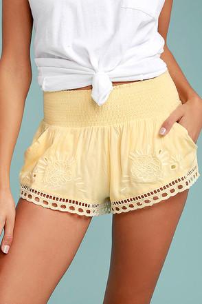 Billabong Summer Skies Yellow Embroidered Shorts 1