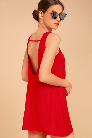 There She Goes Red Backless Swing Dress 1