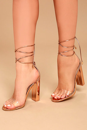 Maricela Rose Gold Patent Lace-Up Heels 1