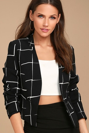 Born to Lead Black and White Grid Print Cropped Blazer 1