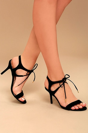 Reception Black Suede Lace-Up Heels 1