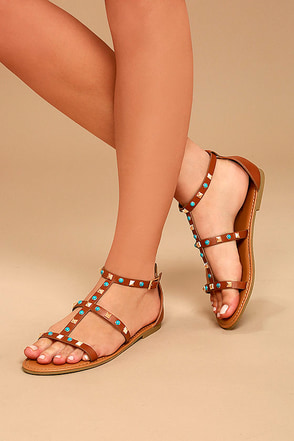 Antonina Chestnut Studded Gladiator Sandals 2