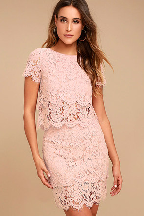 Live For the Night Blush Pink Lace Skirt 1