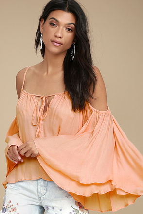 Thought-Provoking Peach Off-the-Shoulder Top 1