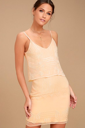 New Friends Colony Glass Petals Peach Beaded Dress 1