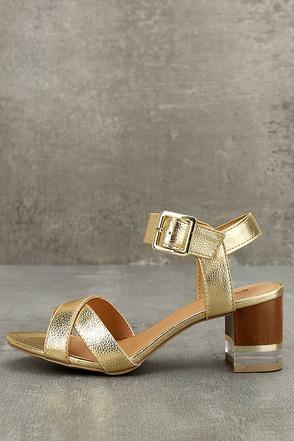 Blaire Gold High Heel Sandals 1