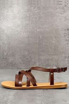 Nadia Brown Flat Sandals 1