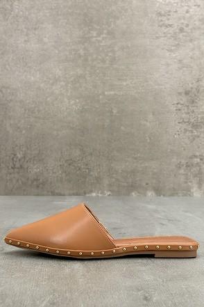 Laetitia Camel Studded Loafer Slides 1
